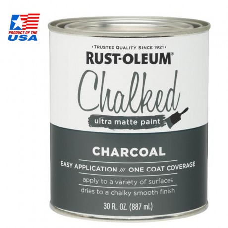 Rust Oleum Chalked Ultra Matte Paint - สีสร้างพื้นผิว vintage ชนิดทา 0.946 ลิตร - 285144 (Charcoal)