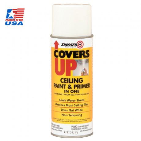 ZINSSER COVERS UP Ceiling Paint (White) - สเปรย์พ่นฝ้าเพดาน สีขาว (หัวสเปรย์พ่นขึ้นด้านบน) 03688
